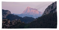 Bath Towel featuring the photograph Pena Montanesa Glowing Red by Stephen Taylor