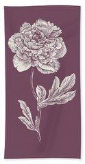 Peony Purple Flower Bath Towel