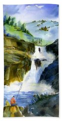 Petroglyph Falls Fishing Bath Towel