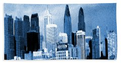 Philadelphia Blue - Watercolor Painting Hand Towel