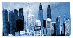 Philadelphia Blue - Watercolor Painting Bath Towel