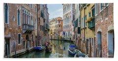 Gondolier On Canal Venice Italy Bath Towel