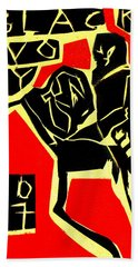 Piano Player Black Ivory Woodcut Poster 31 Bath Towel