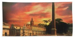 Bath Towel featuring the photograph Piazza Del Popolo Rome by Leigh Kemp