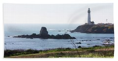 Pigeon Point Lighthouse With Wildflowers Bath Towel