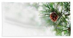 Pine Branch Under Snow Hand Towel
