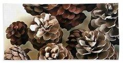 Pine Cones Organic Christmas Ornaments Hand Towel