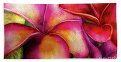 Pink And Red Plumerias Bath Towel