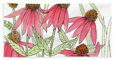 Pink Coneflowers Gather Watercolor Bath Towel