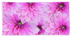 Pink Dahlia Flower Design Bath Towel
