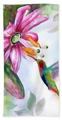 Pink Flower For Hummingbird Hand Towel
