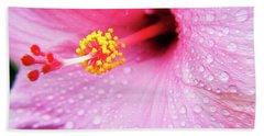 Pink Hibiscus Drops Bath Towel