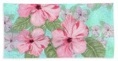 Pink Hibiscus Print On Aqua Bath Towel