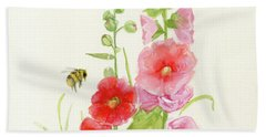 Pink Hollyhock Watercolor Bath Towel