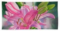 Pink Lily With Buds Bath Towel