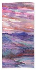 Pink Mountain Landscape Bath Towel