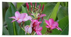 Pink Plumeria With Leaves Bath Towel