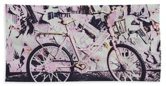 Pink Posterized Pushbike Hand Towel