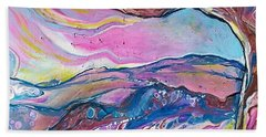Bath Towel featuring the painting Pink Sky by Deborah Nell
