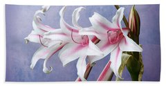 Bath Towel featuring the photograph Pink Striped White Lily Flowers by Debi Dalio