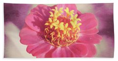 Pink Zinnia Isolated Bath Towel