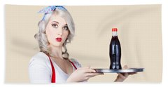 Pinup Girl Waiter Holding Silver Soda Tray Hand Towel