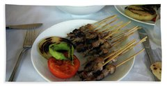 Plate Of Kebabs And Salad For Lunch Bath Towel