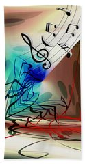 Playing The Piano Abstract Bath Towel