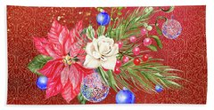 Poinsettia With Blue Ornaments  Bath Towel
