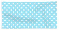 Polka Dot White On Light Blue Hand Towel