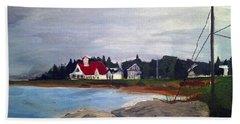 Bath Towel featuring the painting Popham Beach, Maine by Samantha Galactica