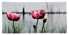 Poppies On Lake Mulwala 2 Hand Towel