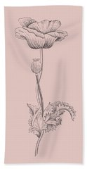 Poppy Blush Pink Flower Bath Towel