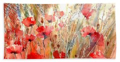 Poppy Fields Forever Bath Towel