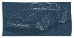 Porsche 959 - Blueprint Bath Towel