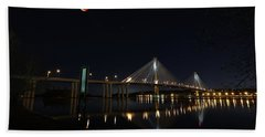 Port Mann Bridge With Blood Moon Hand Towel