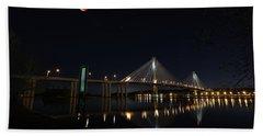 Port Mann Bridge With Blood Moon Bath Towel