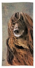 Portrait Of An Afghan Hound Bath Towel