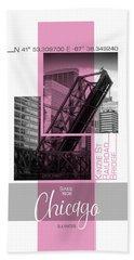 Poster Art Chicago Railroad Bridge - Pink Hand Towel