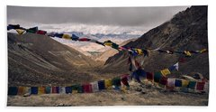 Prayer Flags In The Himalayas Bath Towel