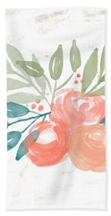 Bath Towel featuring the mixed media Pretty Coral Roses 2- Art By Linda Woods by Linda Woods