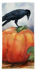 Pumpkin And Crow Bath Towel
