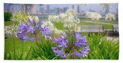 Purple Flowers In San Diego Hand Towel