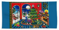 Purrfect Christmas Cat Painting Hand Towel