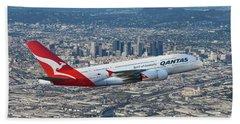 Qantas Airbus A380 Over Los Angeles Bath Towel