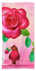 R Is For Rose And Robin Bath Towel