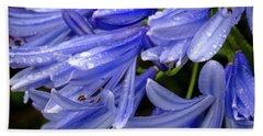 Rain Drops On Blue Flower II Bath Towel