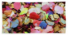Rainbow Autumn Leaves Painterly Bath Towel