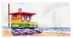 Rainbow Lifeguard Tower Hand Towel