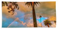Rainbow Over The Palms Bath Towel